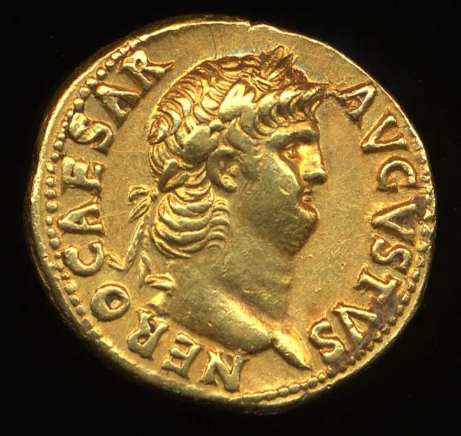 Image of Nero on a coin minted during his reign