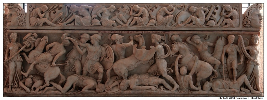Roman Sarcophagus showing a similar battle 2nd Century A.D.