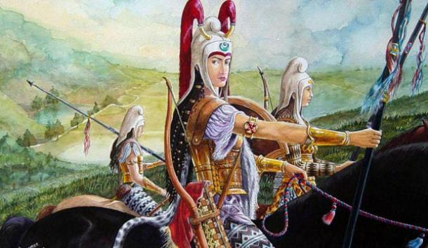 Artist's reconstruction of the appearance of Scythian warrior women, almost certainly the inspiration for the Amazon legends